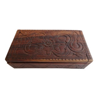 Vintage Hand Carved Teak Wood Box From Bali
