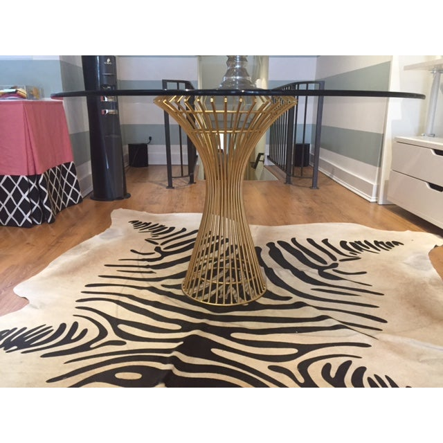 Gold Table Base & Glass Top Dining Table - Image 2 of 4