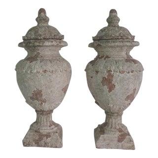 Neoclassical Terra Cotta Urns - A Pair