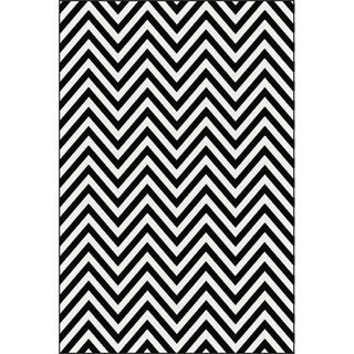 Black and White Chevron Rug - 8'x10'7""