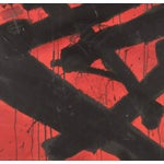 Image of Red With Black Marks Abstract Painting