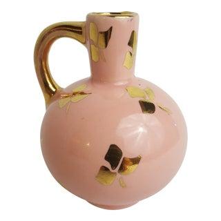 Vintage Mid-Century Modern Gold Trifoil Pink Bud Vase