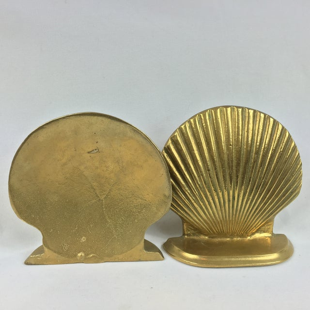 Image of Mid-Century Brass Shell Bookends - A Pair