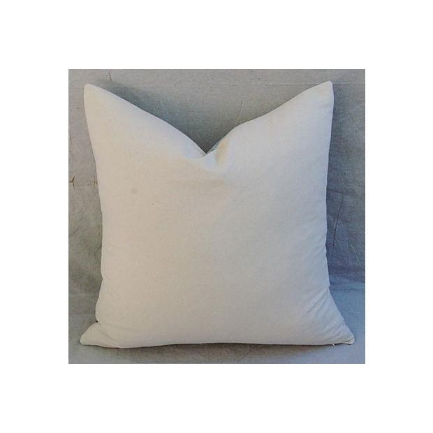 French Script Linen Pillow with Peacock - Image 5 of 7
