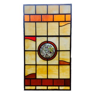 Vintage Stained Glass Harvest Panel - September