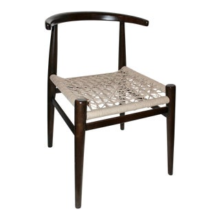 John Vogel for West Elm Dark Brown Wood & Beige Handwoven Seat Chair