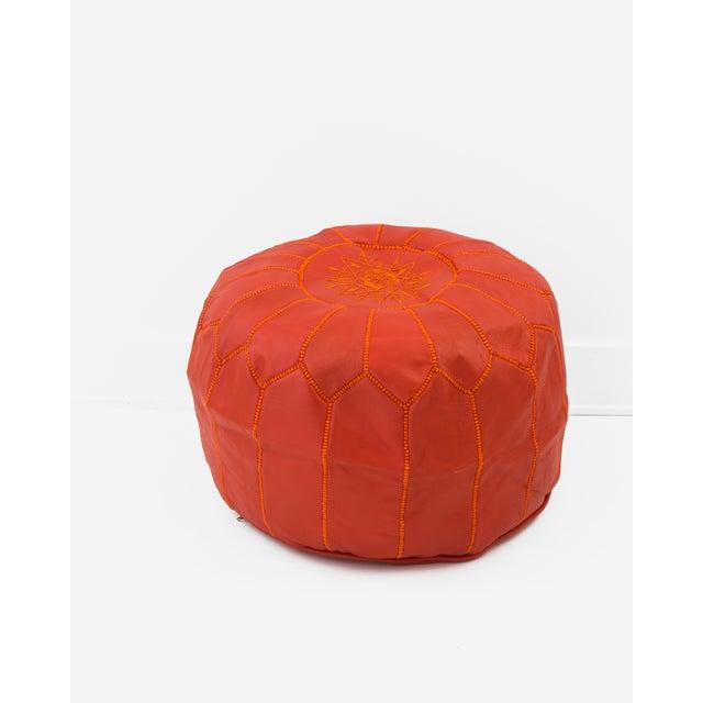 Image of Blood Orange Moroccan Leather Pouf Ottoman