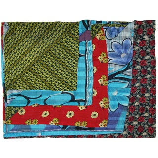 Aqua and Green Vintage Kantha Quilt