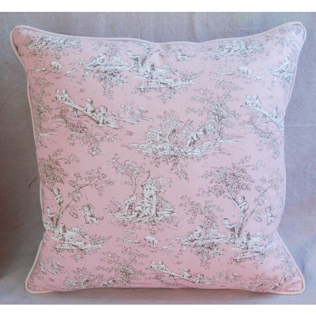 Desinger French Pink Toile & Velvet Pillows - Pair - Image 3 of 11