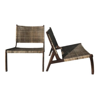 Wegner Hansen Style Danish Distressed Rattan Teak Low Chairs - A Pair