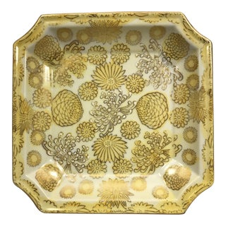 Square Chinoiserie Floral Motif Ceramic Tray