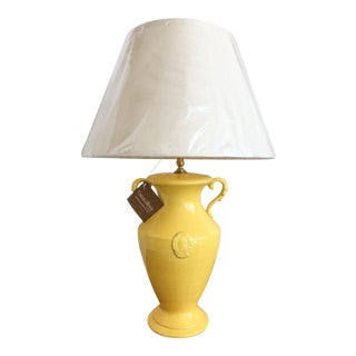 Yellow Urn Lamp with New Shade by Chelsea House