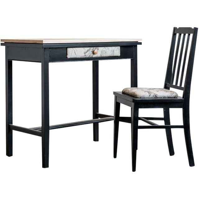 Vintage Black Desk and Chair - Image 1 of 3