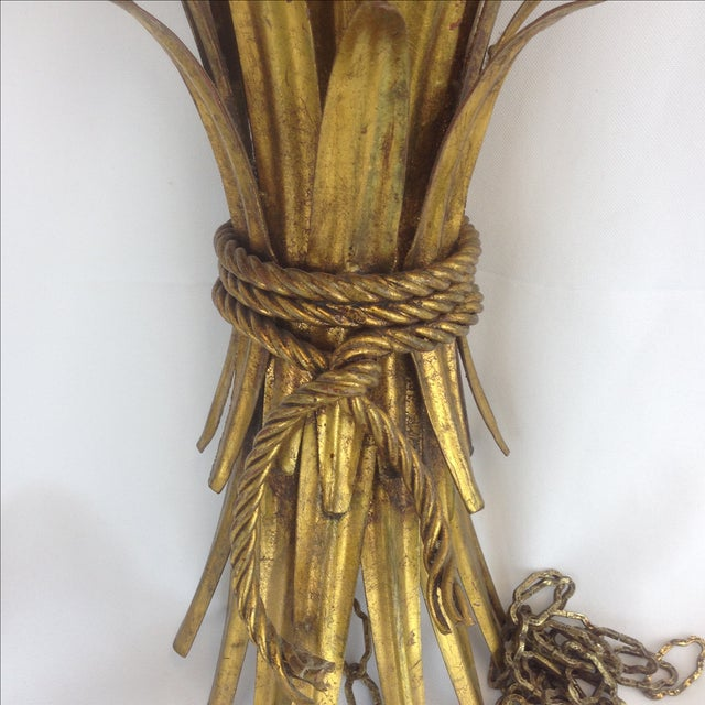 Hollywood Regency Gold Wheat Sconces - Pair - Image 4 of 7