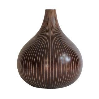 Brown Striated Gourd Vase