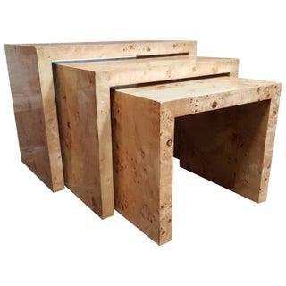 Milo Baughman-Style Olive Burl Nesting Tables