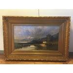 Image of Large Framed Landscape Oil Painting