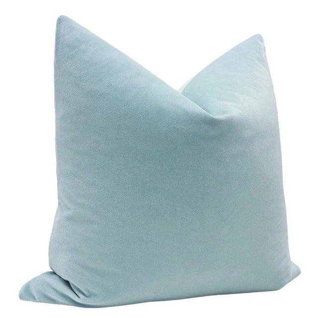 Natural Antelope Bolster and Spa Blue Velvet Pillows - Set of 4 - Image 3 of 9