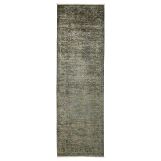 "Vibrance, Hand Knotted Gray / Green Wool Runner Rug - 2' 9"" X 8' 6"""