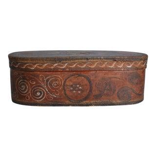 Antique Norwegian Tine Box With Rosemaling