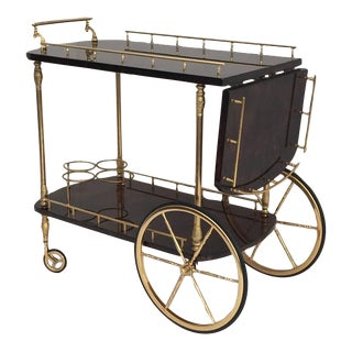 Aldo Tura Parchment Drop-Leaf Bar Cart in Dark Brown