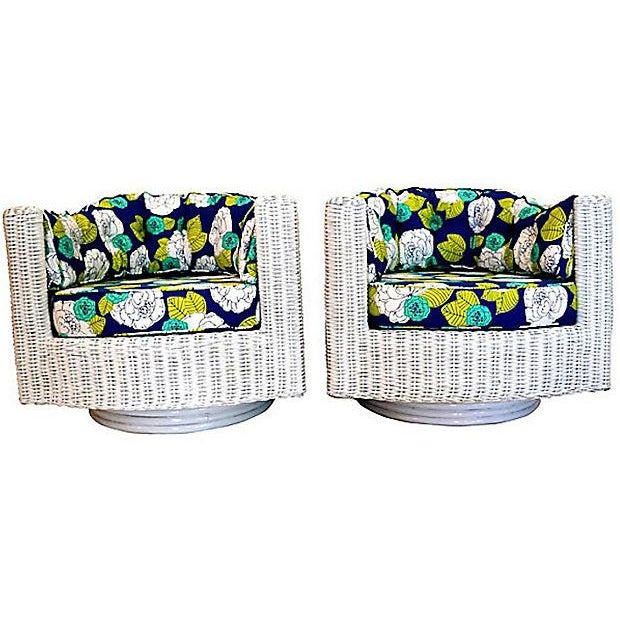 Wicker Yellow Green Swivel Chairs - A Pair - Image 2 of 4