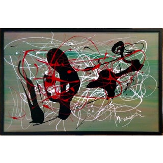 Modern Abstract Pollack-Style Drip Composition Painting