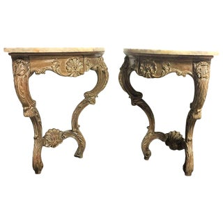 Early 20th Century Rococo French Hand-Carved Corner Consoles with Drawer - a Pair