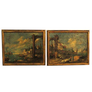 Gold Gilt Framed Italian Piazza Paintings - A Pair