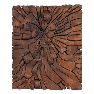 O.V. Shaffer Carved Wood Abstract Wall Sculpture