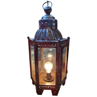Iron Work & Glass Table Lamp Lantern
