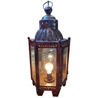 Iron Work & Glass Table Lamp Lantern