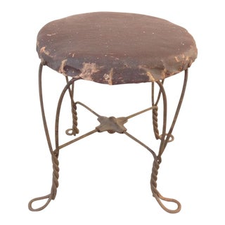 Antique Ice Cream Parlor Twisted Metal Foot Stool Ottoman
