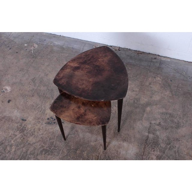 Pair of Goatskin Nesting Tables by Aldo Tura - Image 5 of 10