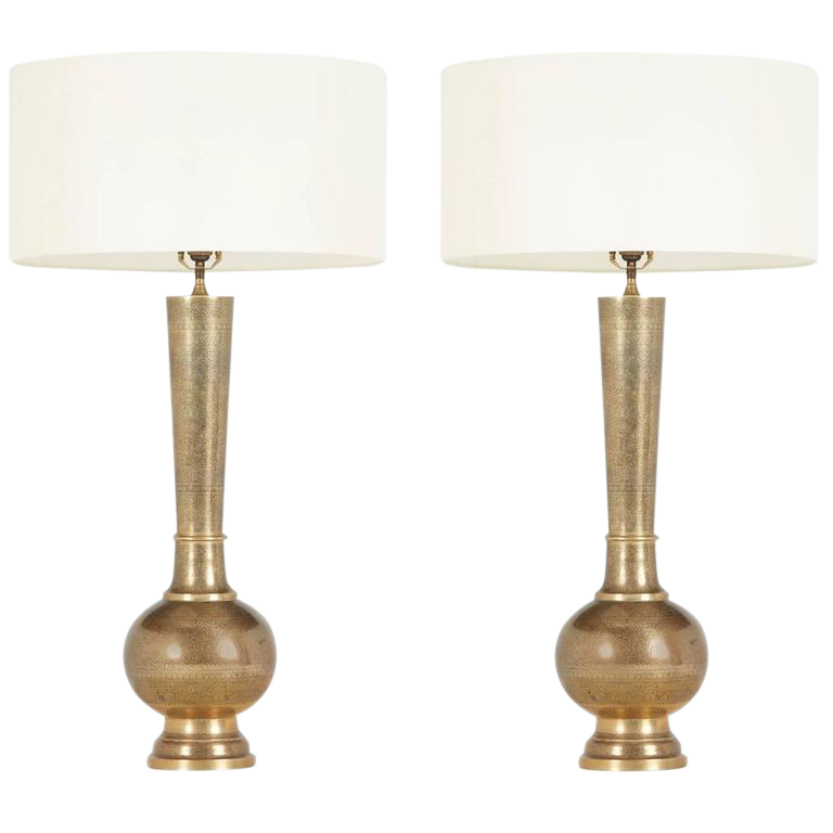 1950s Etched Brass Table Lamps in the Style of Persian Khatam A