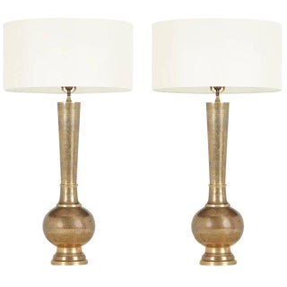 1950's Etched Brass Table Lamps in the Style of Persian Khatam - A Pair