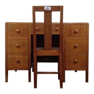 Arts & Crafts 7-Drawer Oak Desk