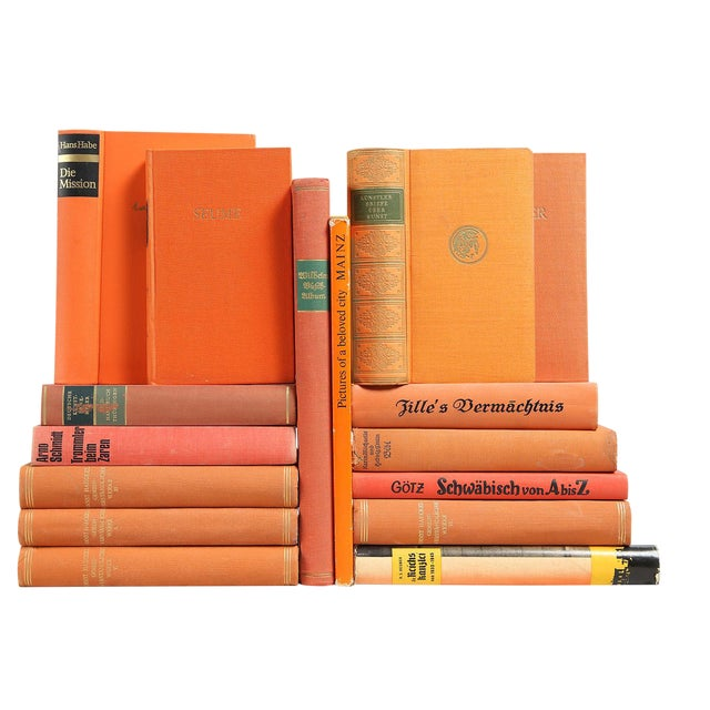 Tangerine & Melon German Mixed Books - Set of 16 | Chairish