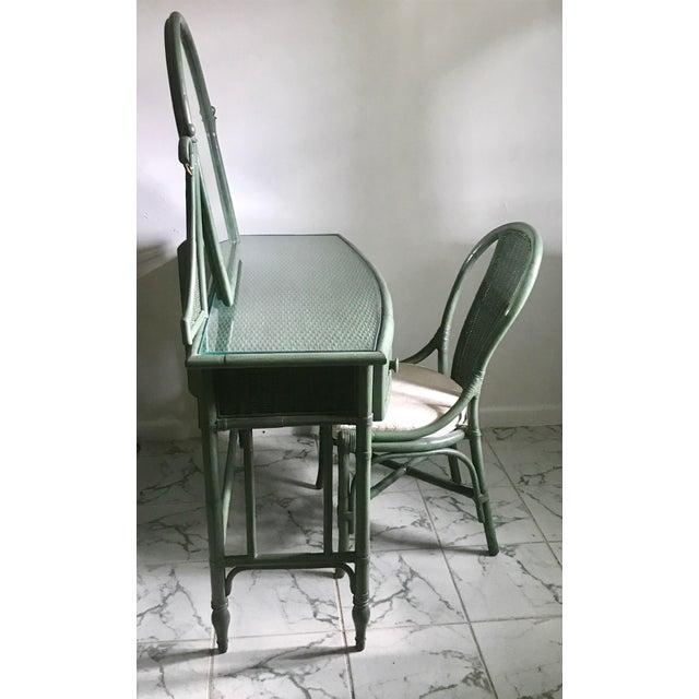 Lane Furniture Co Rattan Cheval Mirrored Vanity Dressing Table Chair Set Chairish