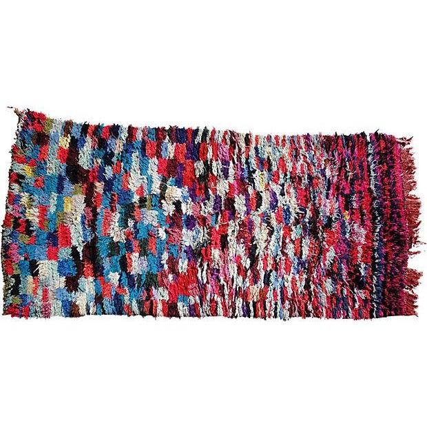 "Hand Loomed Moroccan Wool Rug - 6'7"" x 3'1"" - Image 1 of 2"