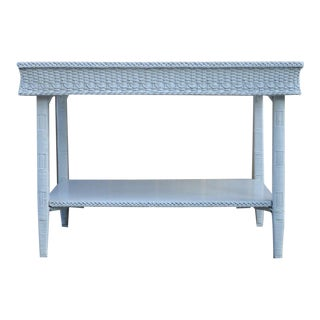 Vintage Primitive Rustic Painted Wicker Console Table