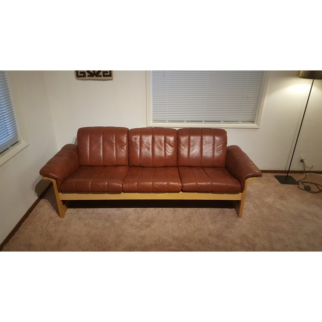 Red-Brown Leather Midcentury Modern Sofa - Image 2 of 11