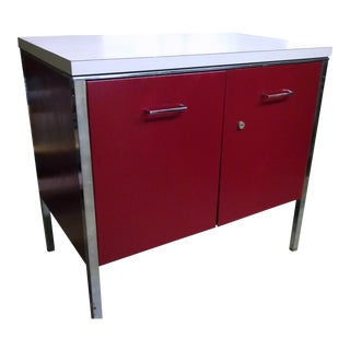 Vintage Red Metal Cabinet