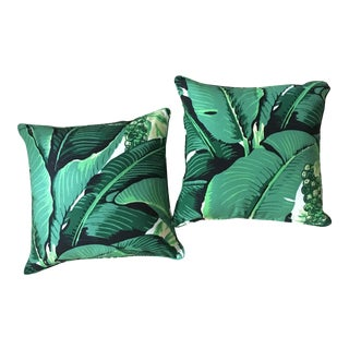 "Dorothy Draper ""Brazilliance"" Banana Leaf Accent Pillows - A Pair"