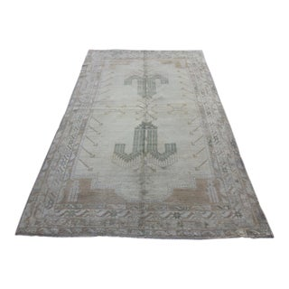 Mid 20th C. Vintage Antique Tribal Oushak Neutral Soft Hand Knotted Turkish Rug - 5'2 X 8'3