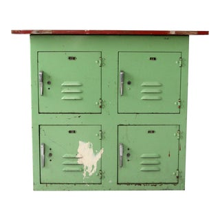 Vintage Industrial Wood Top Green Lockers