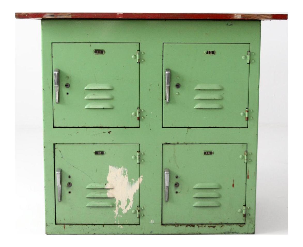 Vintage Industrial Wood Top Green Lockers