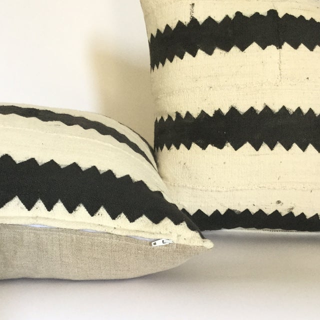 Mud Cloth Black and White Pillows - A Pair - Image 3 of 4