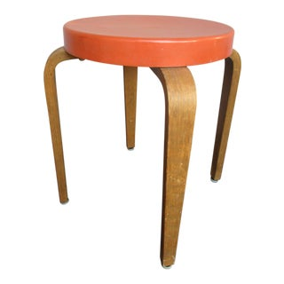 Alvar Aalto for Thonet Bakelite Bentwood Stool Orange Bakelite