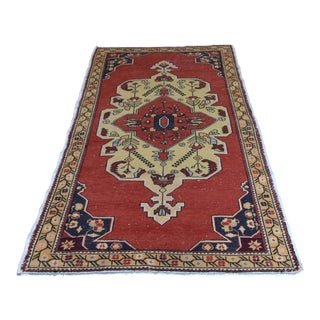 Antique Turkish Anatolian Handmade Carpet - 4′2″ × 7′4″